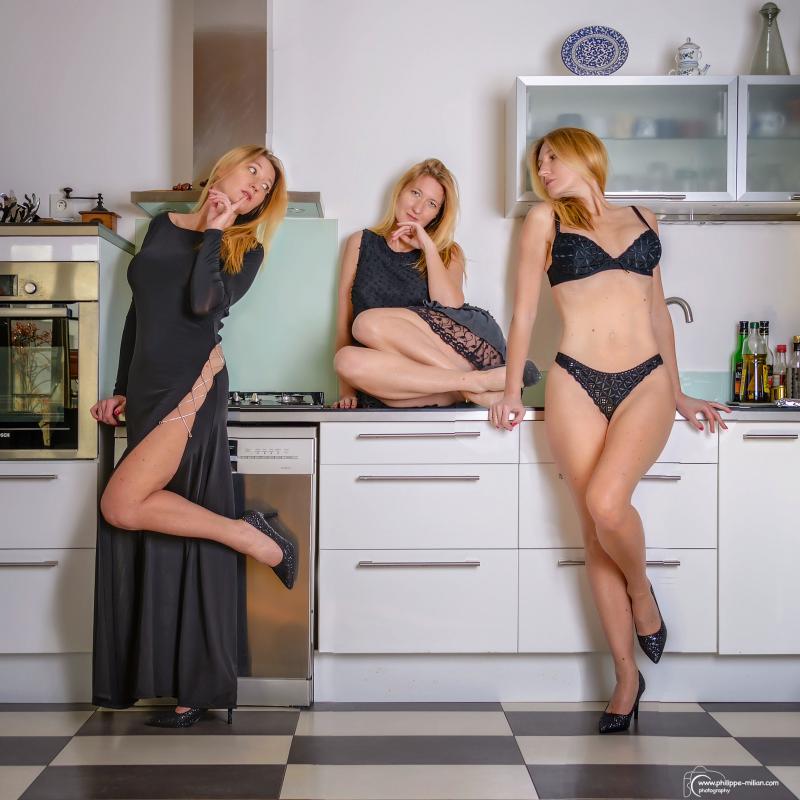 Stephanie-Suisse :  trio en cuisine, ns:Patrick MILLIAN, annuaire photo modele
